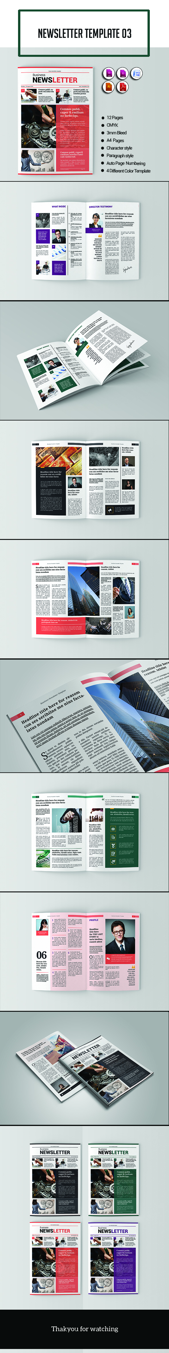 The Modern Newsletter Template With Different Colors Are Suitable For Institutions Or Companies Easily Customizable To Your Needs