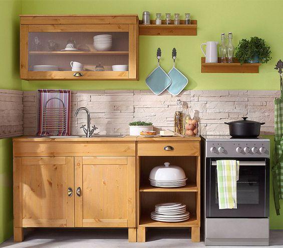Kleine Landhausküche spar set oslo 5 teilig aus massiver kiefer oslo