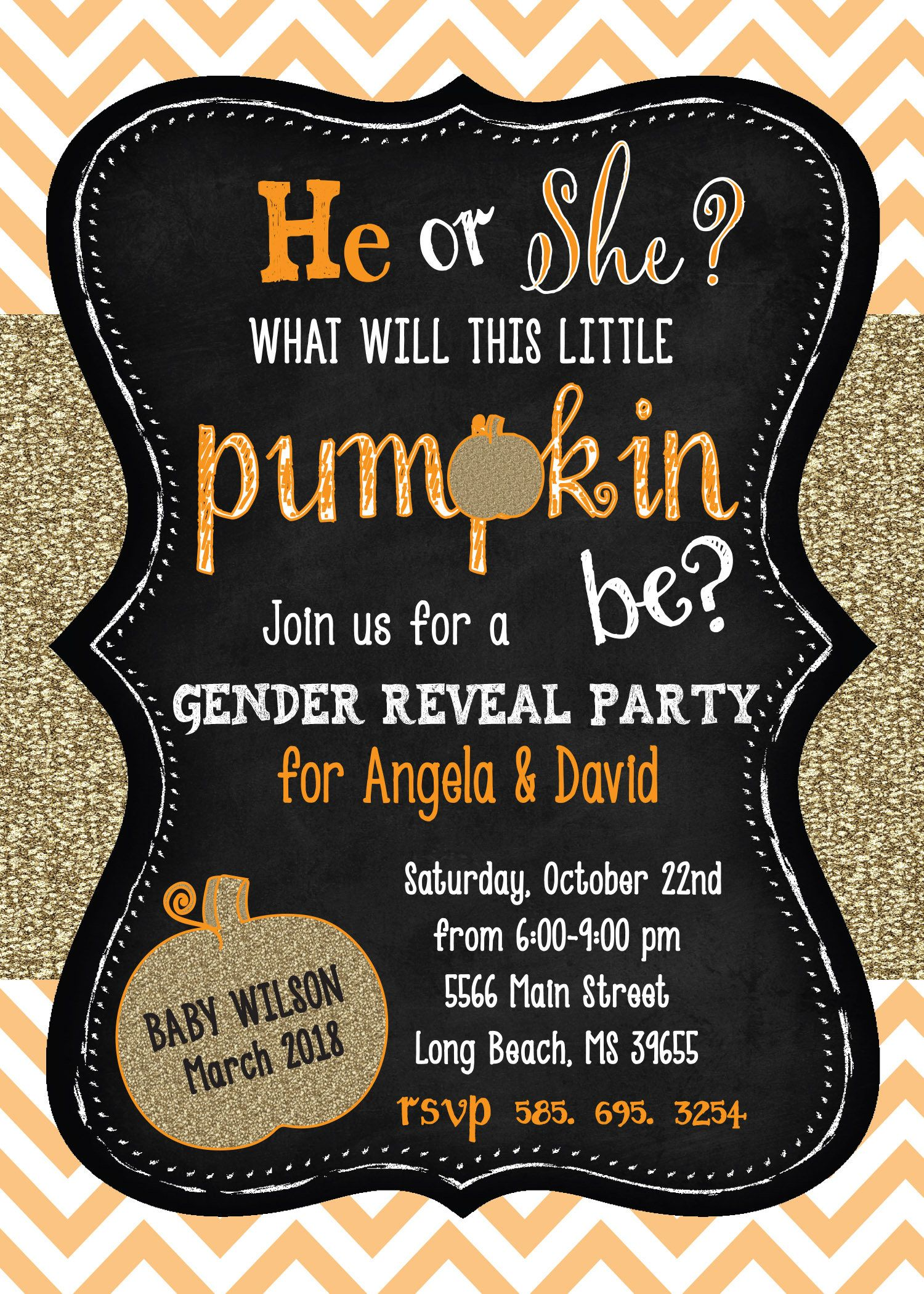 Fall gender reveal party invitation with gold glitter