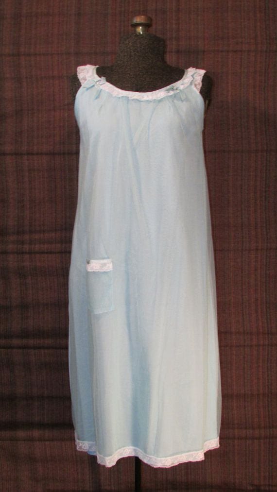 Vintage 1960s Nightgown Sheer Blue Nylon by ladysslippervintage, $23.99