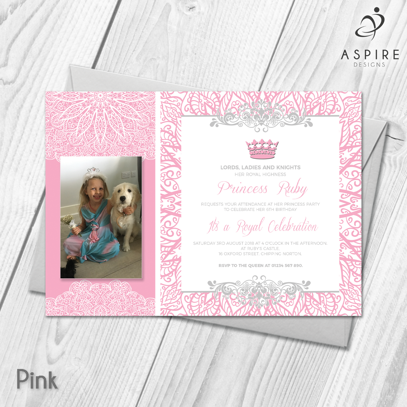 Personalised Girls Princess Birthday Party Invitations With Photo ...
