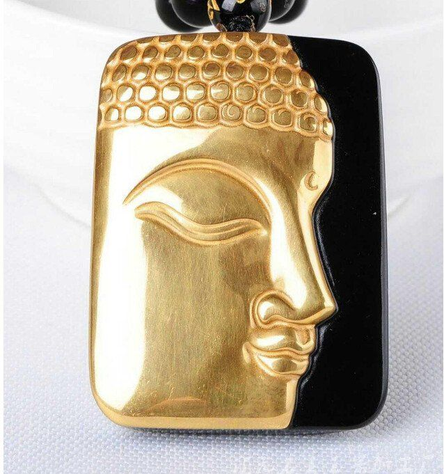 Gold Natural Black Obsidian Buddha Lucky Pendant