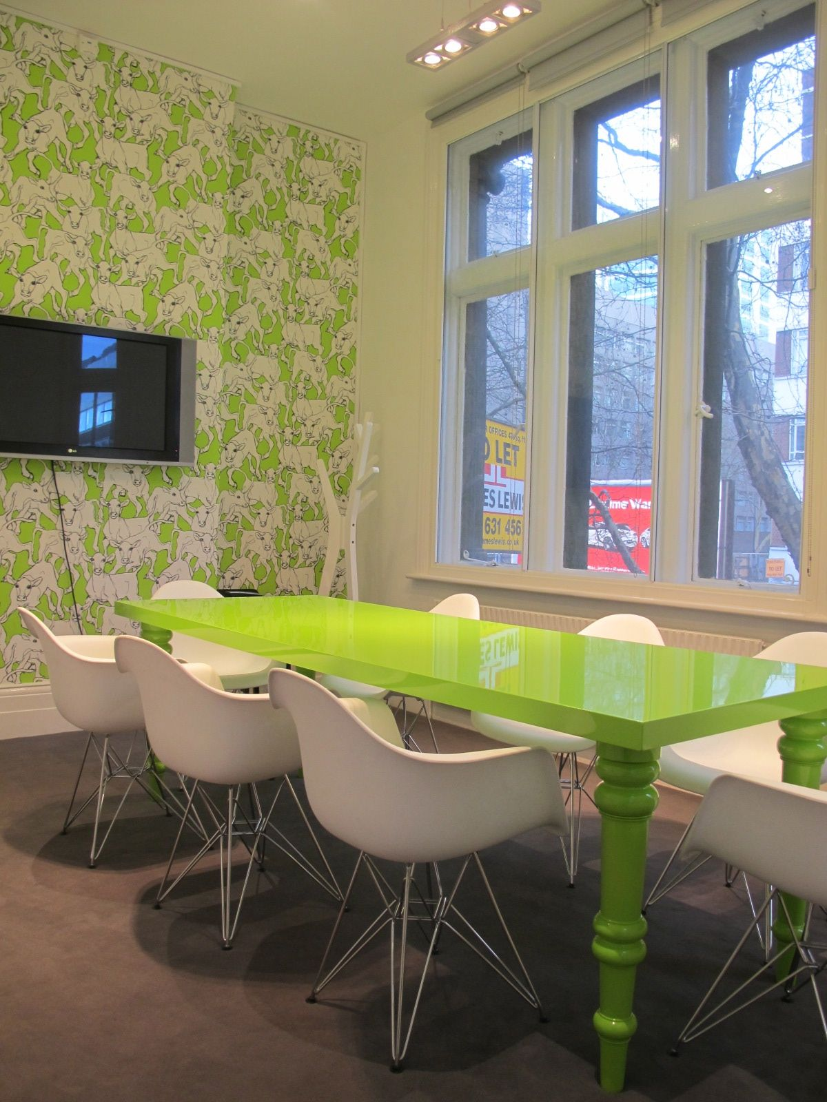 Zesty Bespoke Dining Meeting Table In High Gloss, Lime Cow Wallpaper