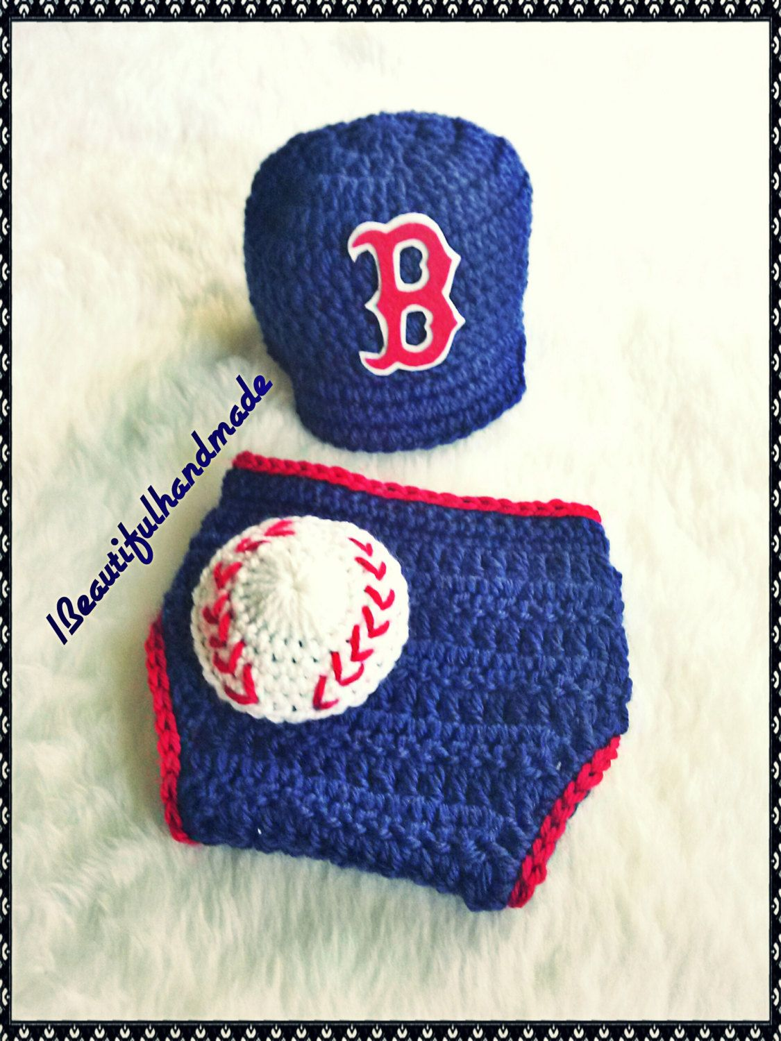4432f1c50 ... baby boy crochet boston red sox baseball cap diaper covercrochet  newborn hatnewborn photography prop ...