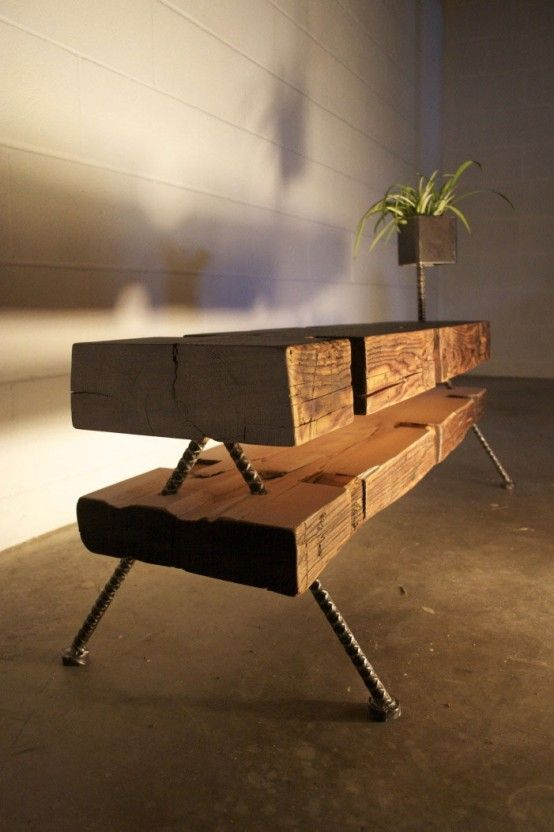 Reclaimed Farmhouse Beams Made Into Eclectic Farmpunk Furniture