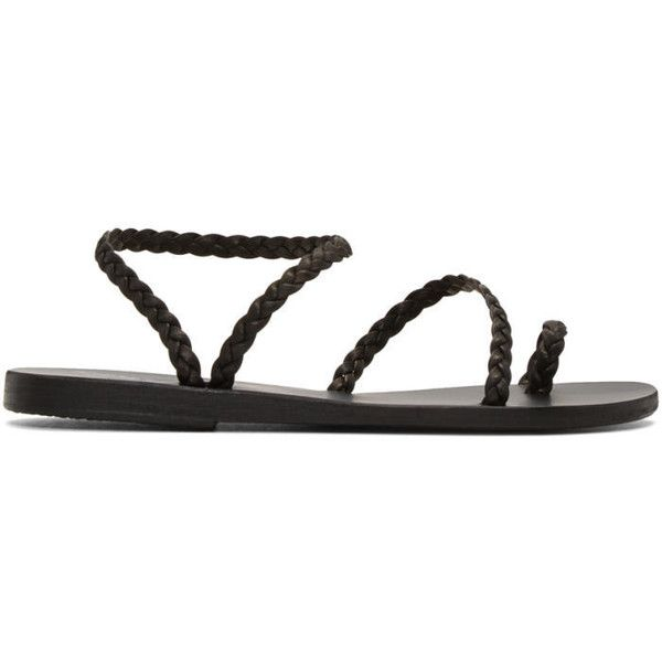 Ancient Greek Sandals Black Braided Eleftheria Sandals ($195) ❤ liked on Polyvore featuring shoes, sandals, black, round cap, braided leather shoes, black leather shoes, leather sandals and woven leather sandals