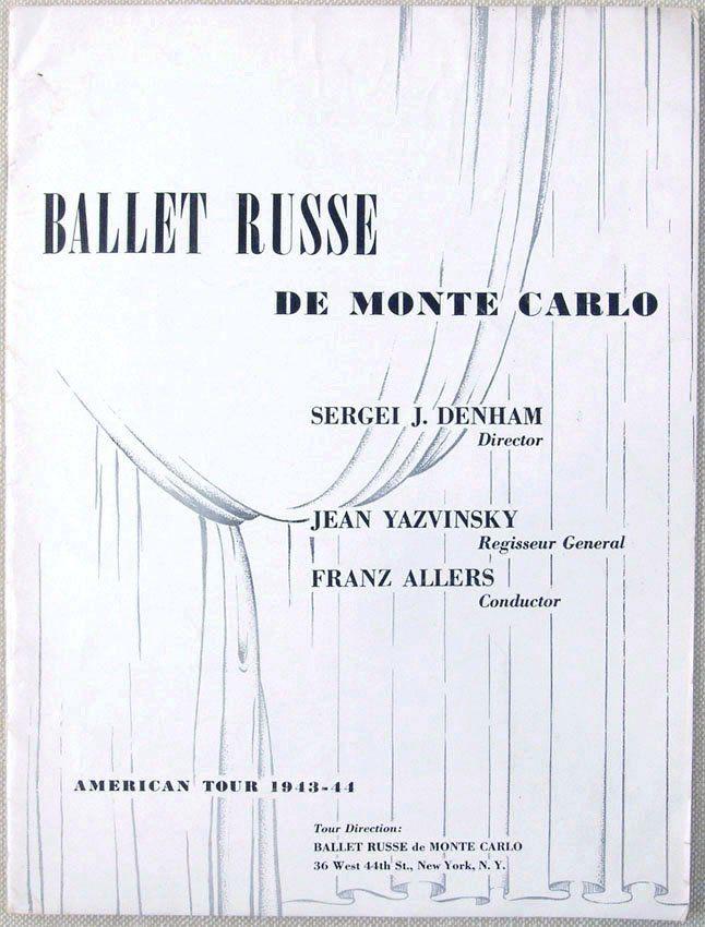 1943-1944 Program BALLET RUSSE DE MONTE CARLO Danilova : Lot 234