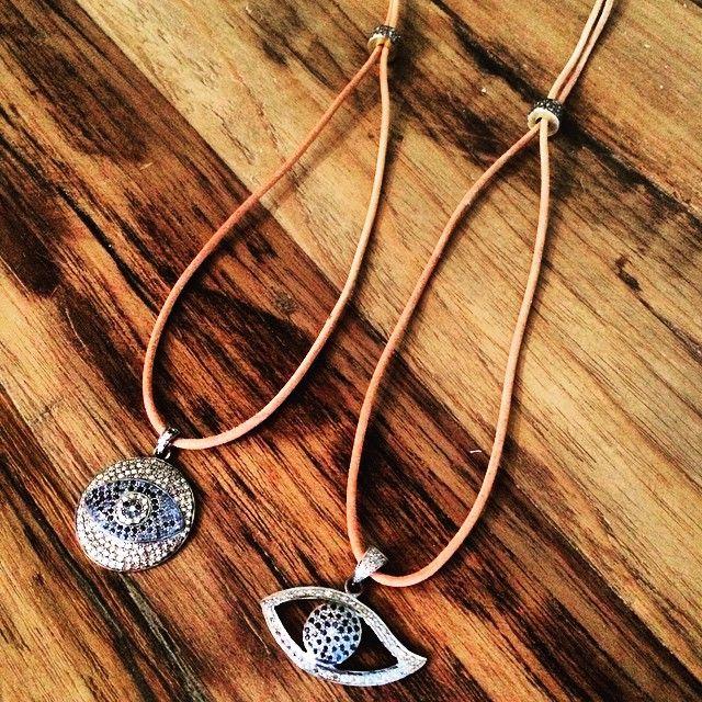 Pave diamond and sapphire evil//www.theodosiajewelry.com
