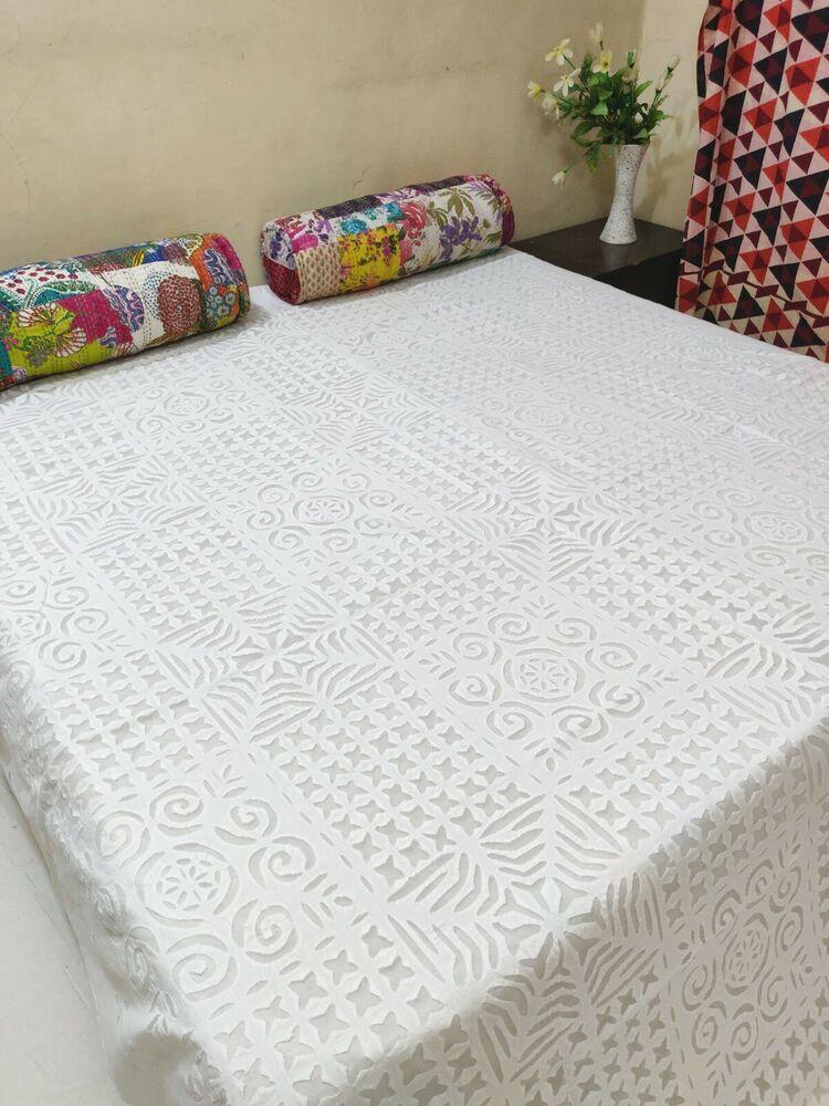 Bed Sew Applique Throw White Cotton Beautifull Bedding