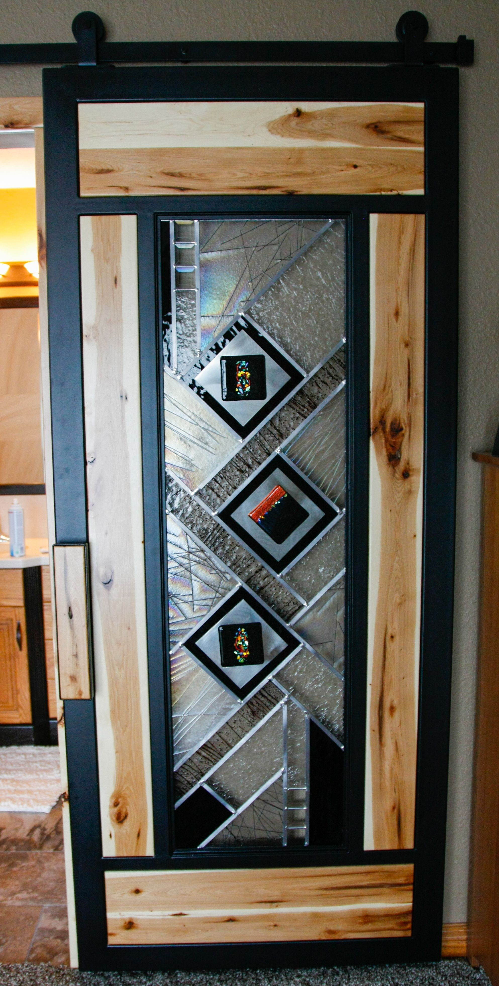 Sliding Barn Door With Stained Glass And Hickory Insets Hannahs