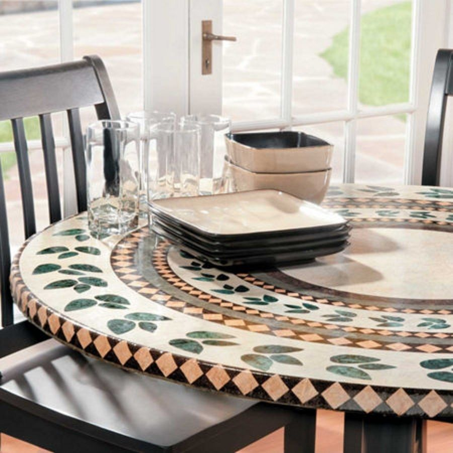 Mosaic Tile Elastic Fitted Vinyl Outdoor 48 Round Patio Table Cover