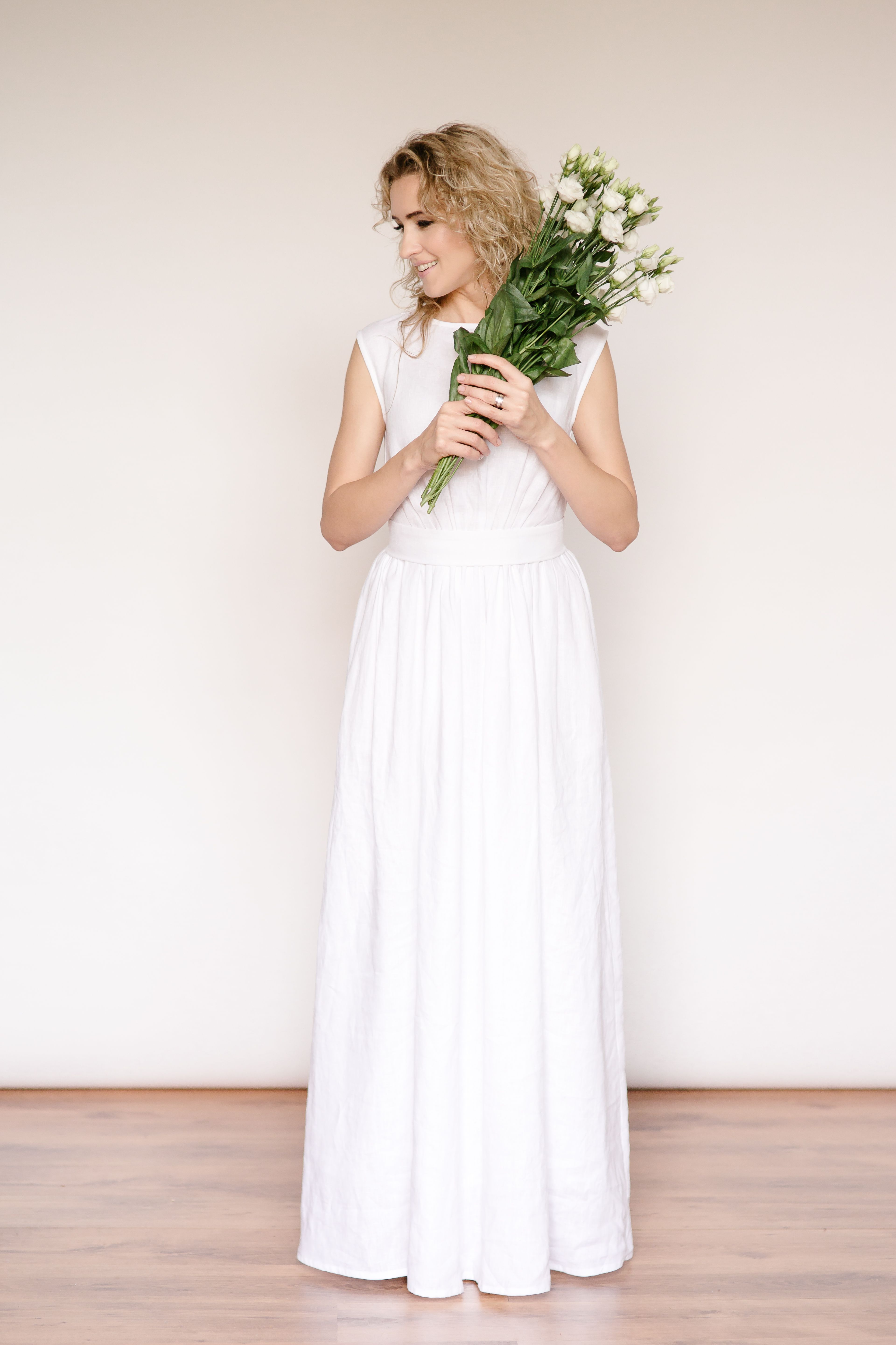Linen greek style wedding dress. Tailor made by CozyBlue. Lithuania ...