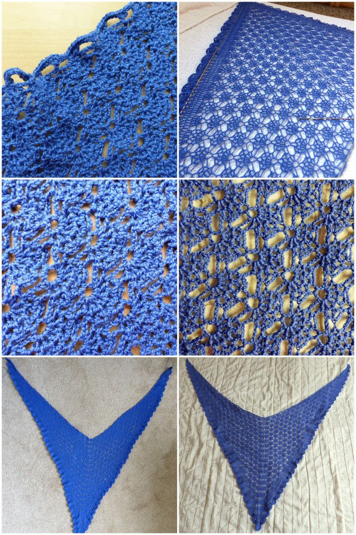 Mediterranean Lace Shawl - Left side is unblocked, Right side is ...