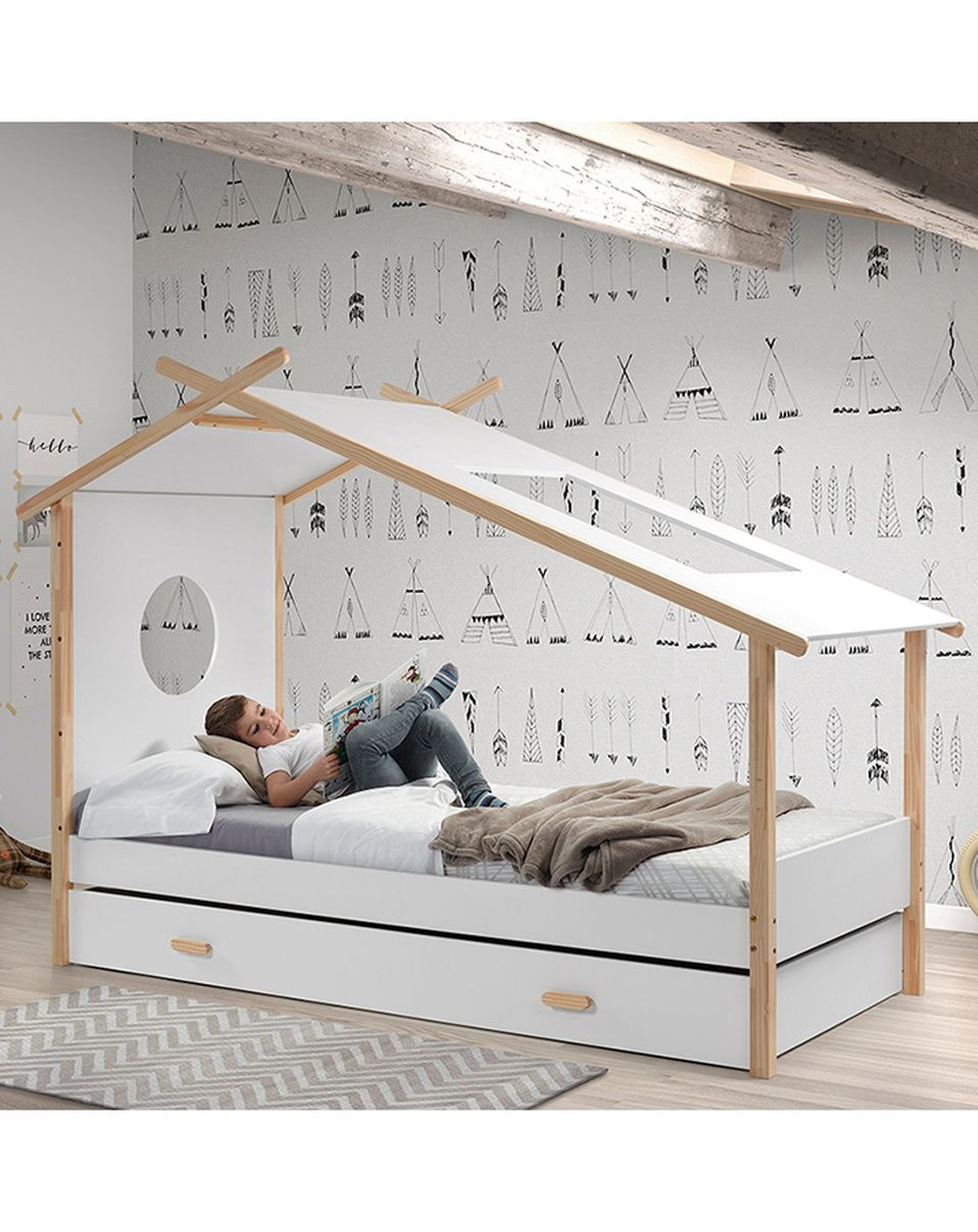 zelt kinderbett cocoon 90x200 mit bettschublade in wei. Black Bedroom Furniture Sets. Home Design Ideas