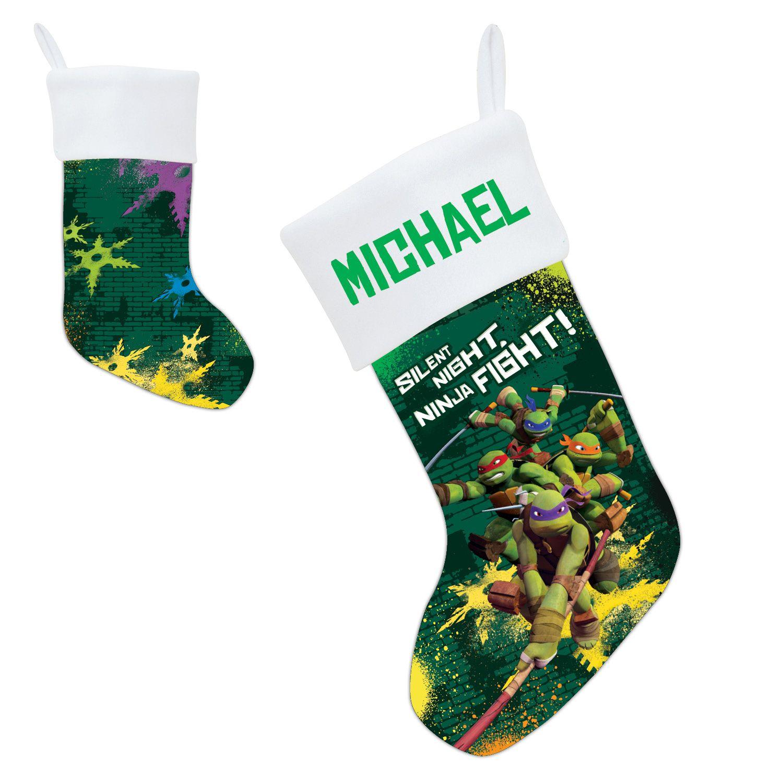 make christmas morning exciting with a personalized teenage mutant ninja turtle christmas stocking - Christmas Stockings Walmart