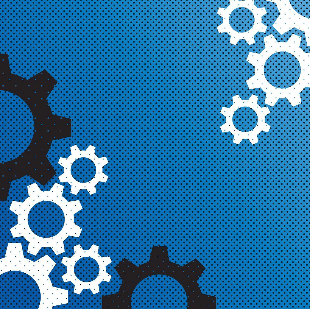 フリーイラスト素材] イラスト, 背景, 歯車 / ギア, テクノロジー, 青色