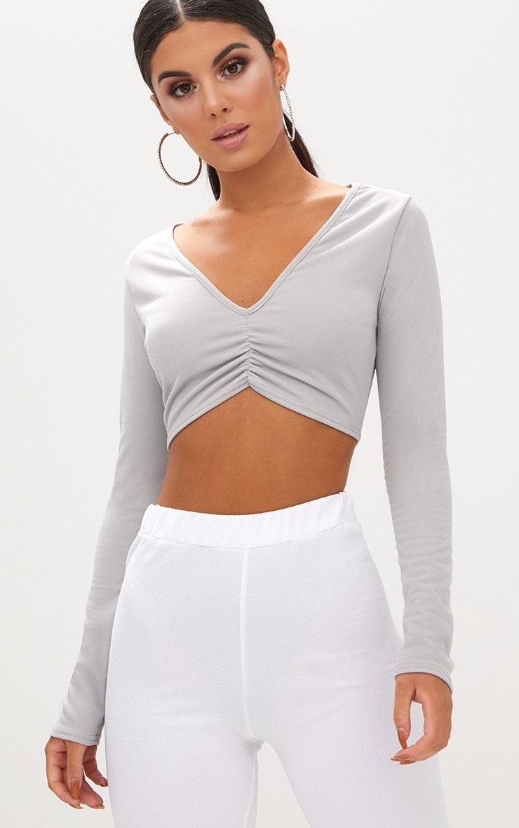 c2e628eda9a Grey Ruched Front V Neck Crop Top | Pretty Little Thing | Crop tops ...