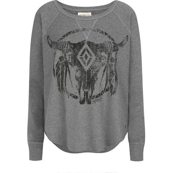 Denim & Supply Ralph Lauren Open-Neck Bull Sweatshirt ($110) ❤ liked on Polyvore featuring tops, hoodies, sweatshirts, sweaters, shirts, crewneck sweatshirt, crew-neck shirts, crew shirt, crew neck sweatshirts and crew neck tops
