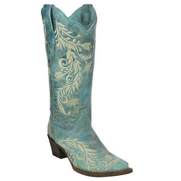 Corral Women's Embroidered Cowgirl Boots Snip Toe ❤ liked on Polyvore  featuring shoes, genuine leather