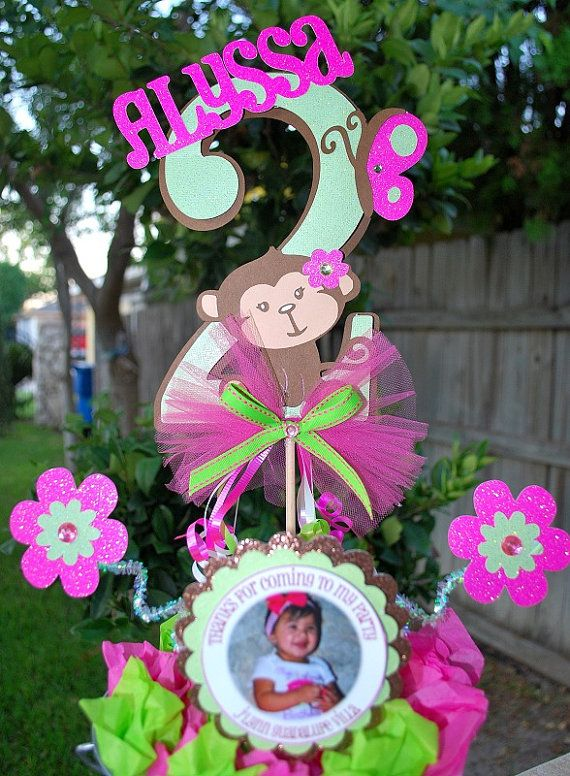 Centerpiece idea pink and green mod monkey party