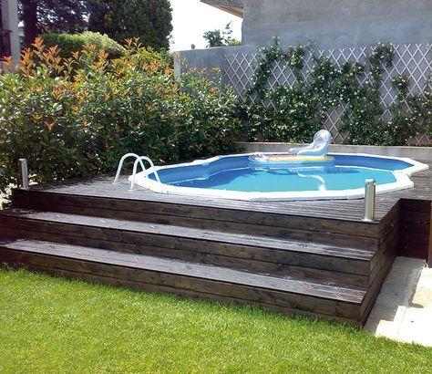 Piscina desmontable gre empotrada en madera piscina - Piscinas elevadas de madera ...
