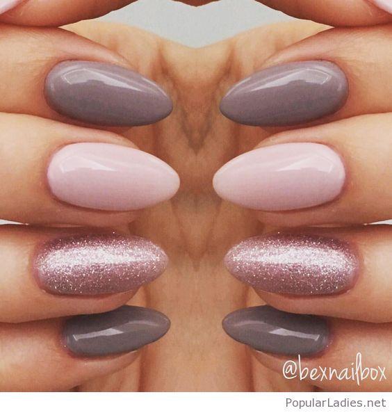 Grey and pink manicure with glitter   Diseños de uñas, Manicuras y ...