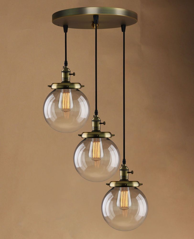 Retro Vintage Cluster Hanging Ceiling Lights Globe 3 Glass Shades ...