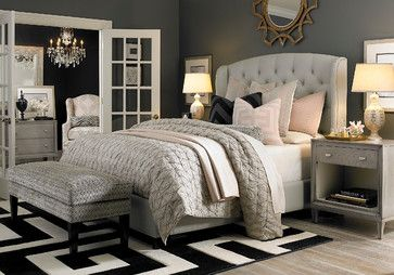Best Hgtv Home Custom Upholstered Paris Arched Winged Bed By 640 x 480