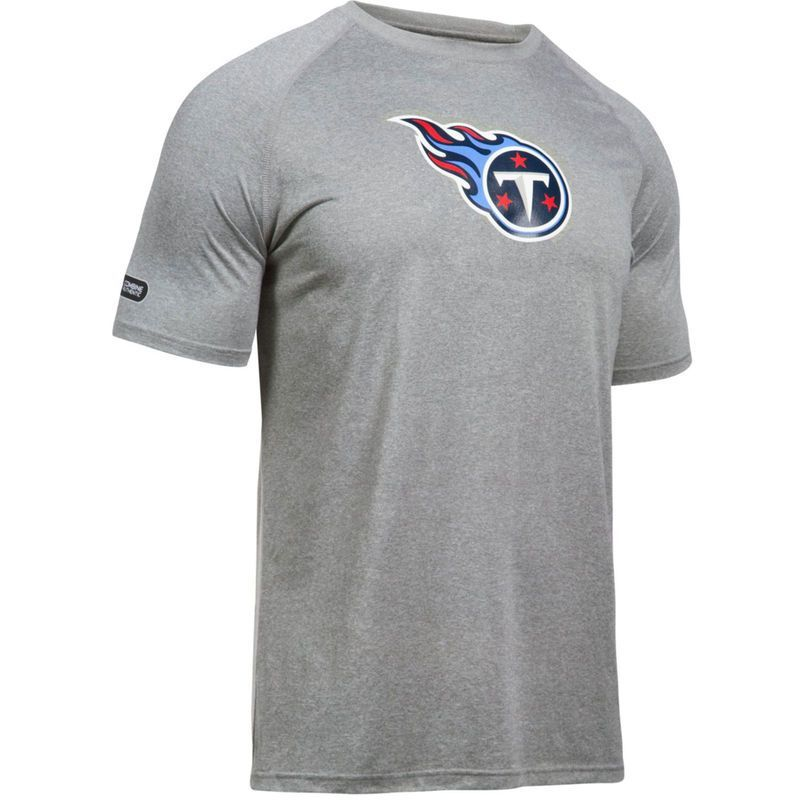 a132722eac1 Tennessee Titans Under Armour Combine Authentic Primary Logo Tech T-Shirt -  Gray