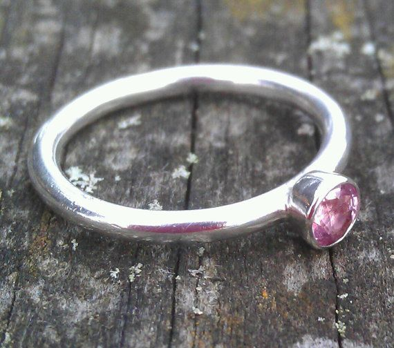 Little Peony skinny stacking ring sparkling by BreigeKing on Etsy