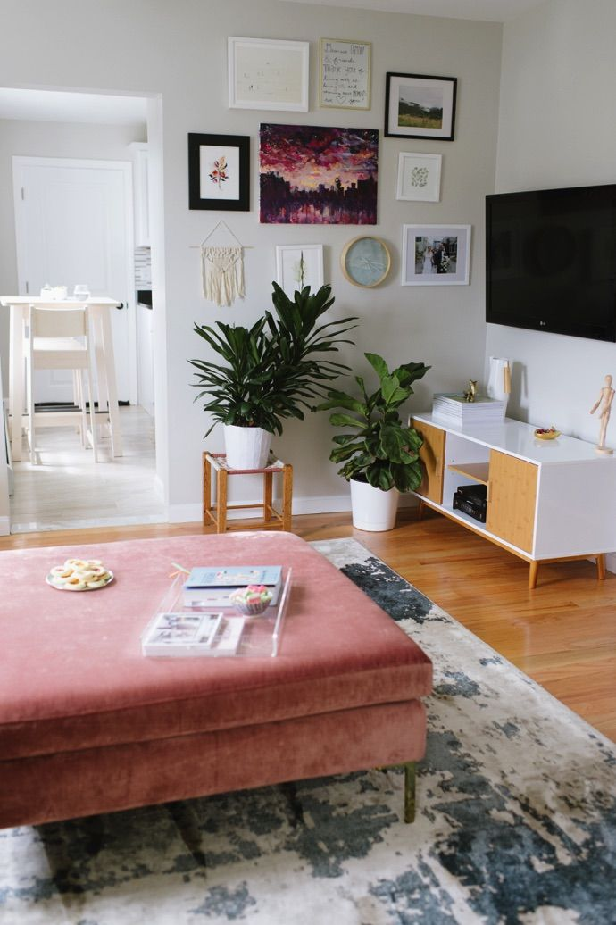 Tour A Cute Boston Home With Major Mid Century Vibes Glitter Guide Living Room Decor Modern Dream Living Room Decor Ottoman In Living Room #ottoman #small #living #room