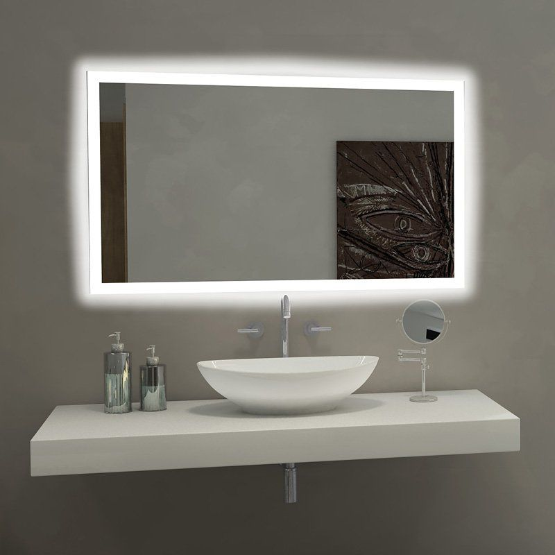 Paris mirror rectangle bathroom mirror with led backlights - Bathroom vanity mirror side lights ...