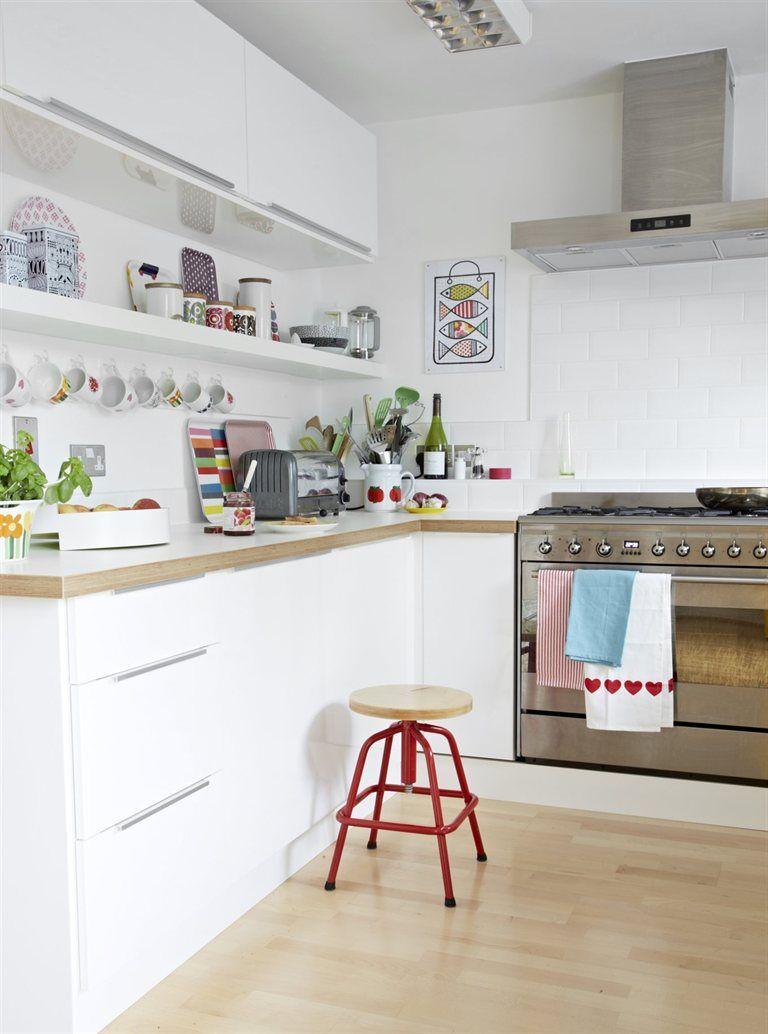 Example of one open shelf underneath upper cabinet. Like it.