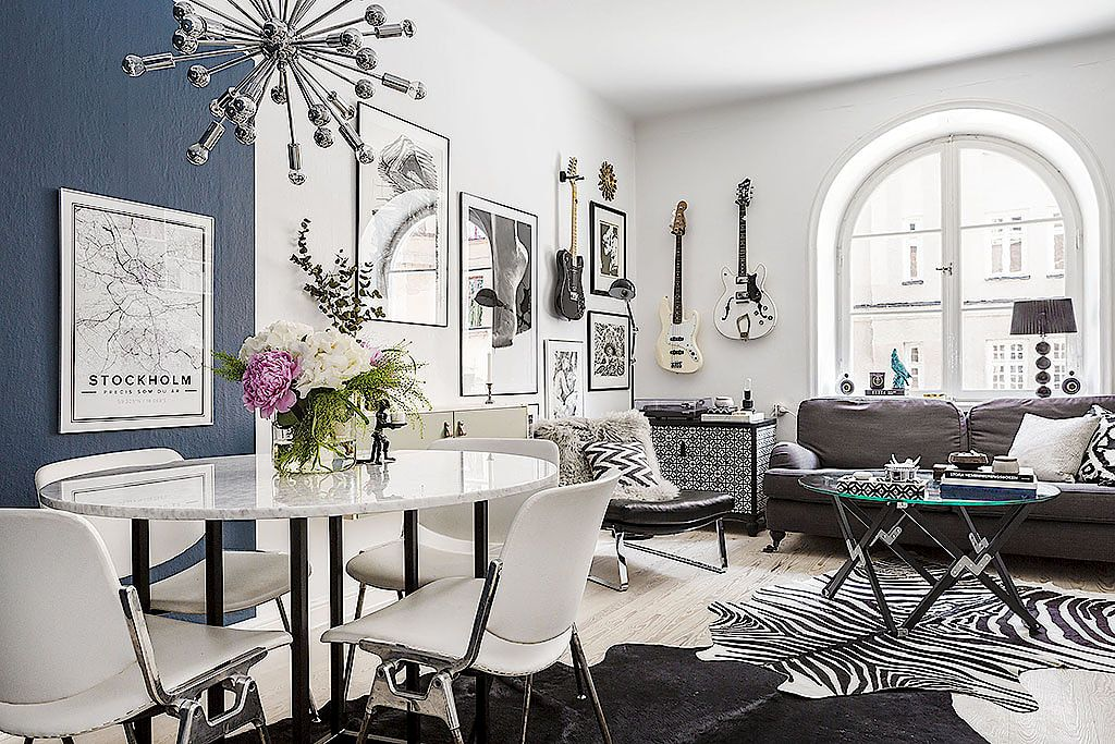 Small BW and some accent color apartment in Stockholm Great