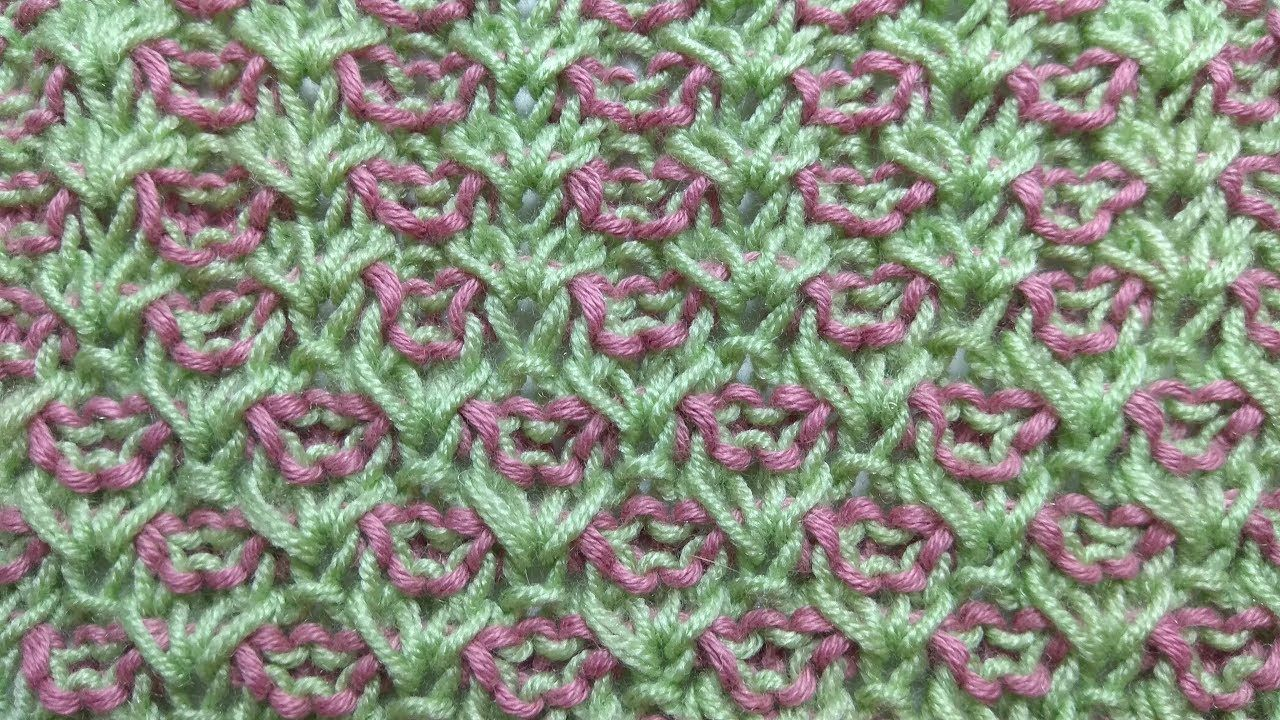 Plain of flowers, two-color knitting stitch pattern + free ...
