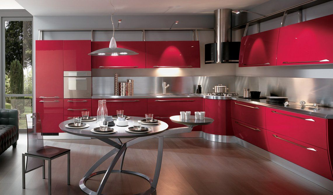 Cocina moderna color roja Kitchen ideas Pinterest Kitchens