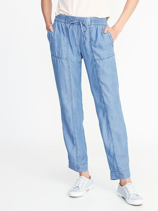 Mid-Rise Tencel® Utility Cropped Pants for Women
