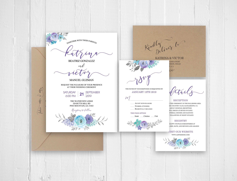 Wedding invitation, Floral Wedding invitation template , Wedding ...