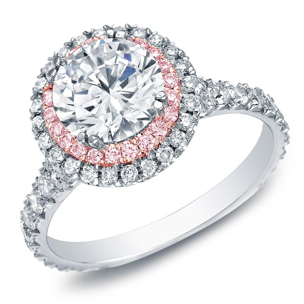 Miadora signature collection 14k white gold 1ct tdw diamond double row - Auriya 14k Gold 2ct Tdw Certified White Diamond Halo Engagement Ring By Auriya
