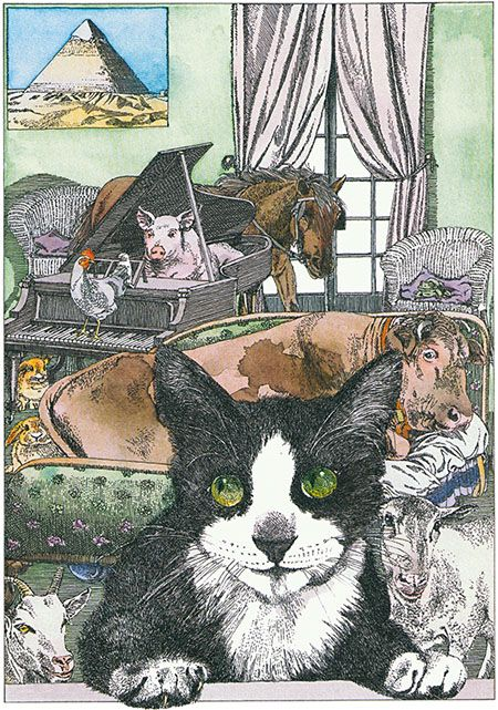 """Illustration by Klaus Ensikat from the book """"Katzen"""" by"""