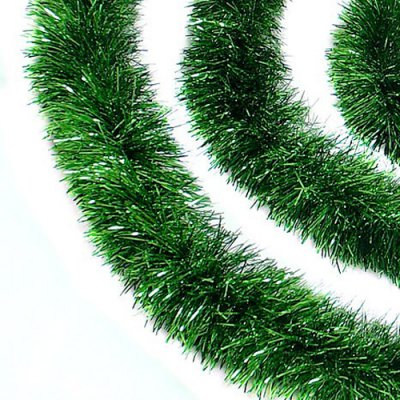 Northlight 50 ft Festive Xmas Green Christmas Tinsel Garland - Set