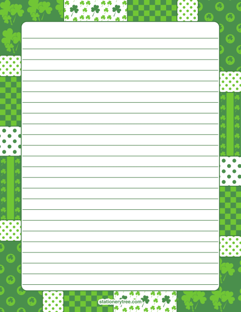 Printable Shamrock Stationery And Writing Paper. Multiple Versions  Available With Or Without Lines. Free