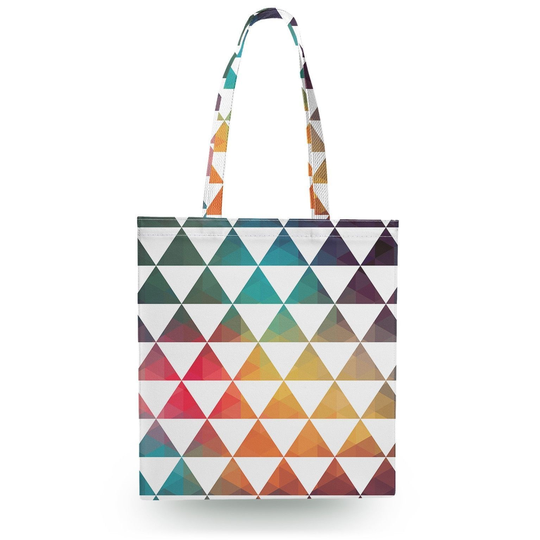 geometric triangle rainbow canvas tote bag 16x16 inch book gym