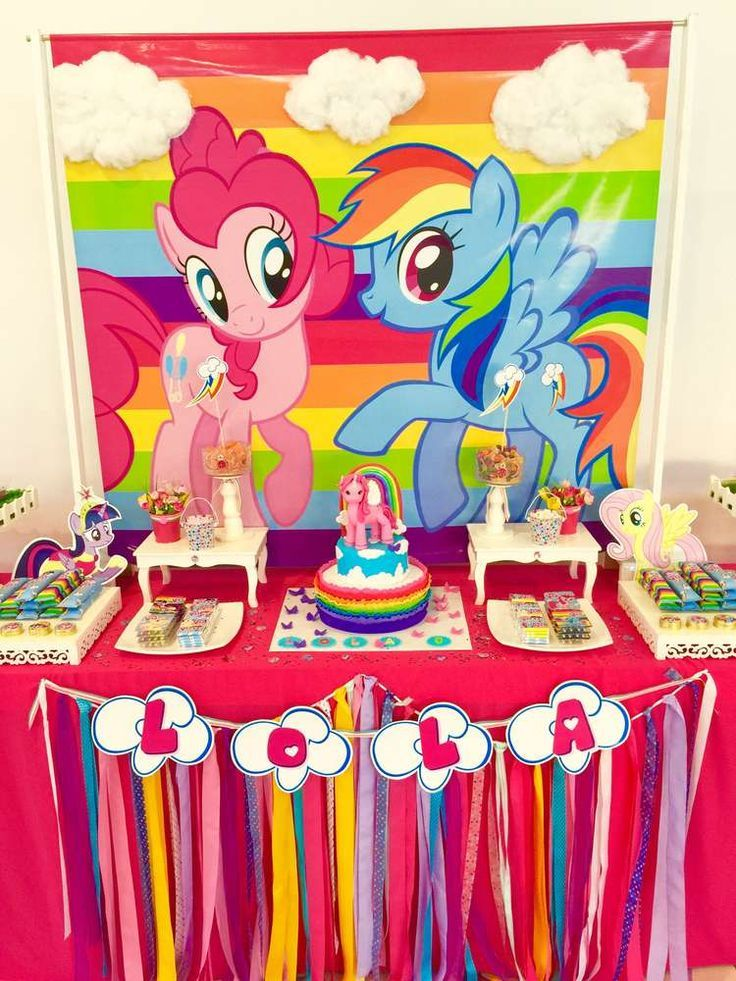 Colorful Dessert Table At A My Little Pony Birthday Party See