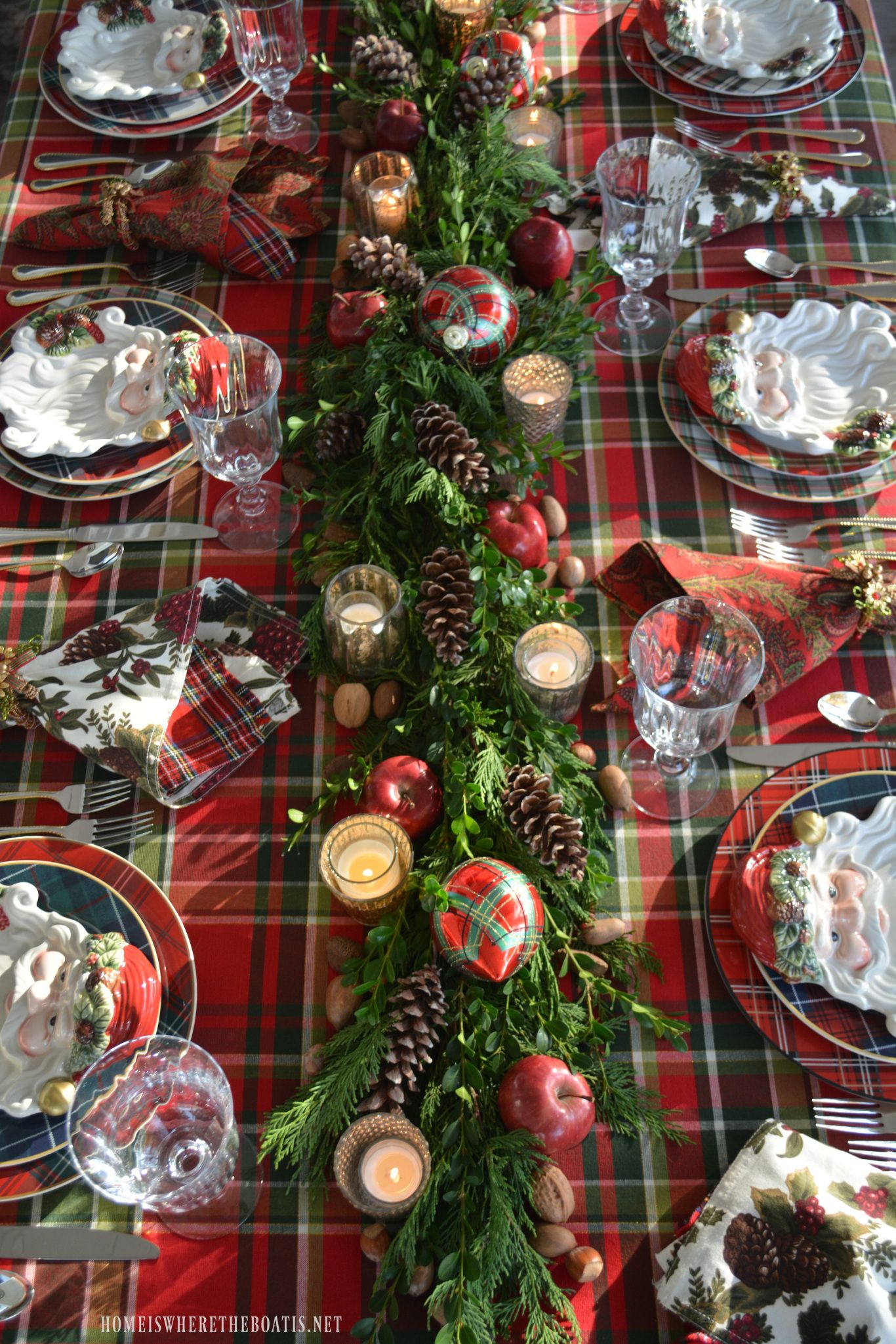 Plaid Tidings A Christmas Table With St Nick And A Natural Evergreen Table Runner Christmas Table Decorations Christmas Table Settings Christmas Centerpieces