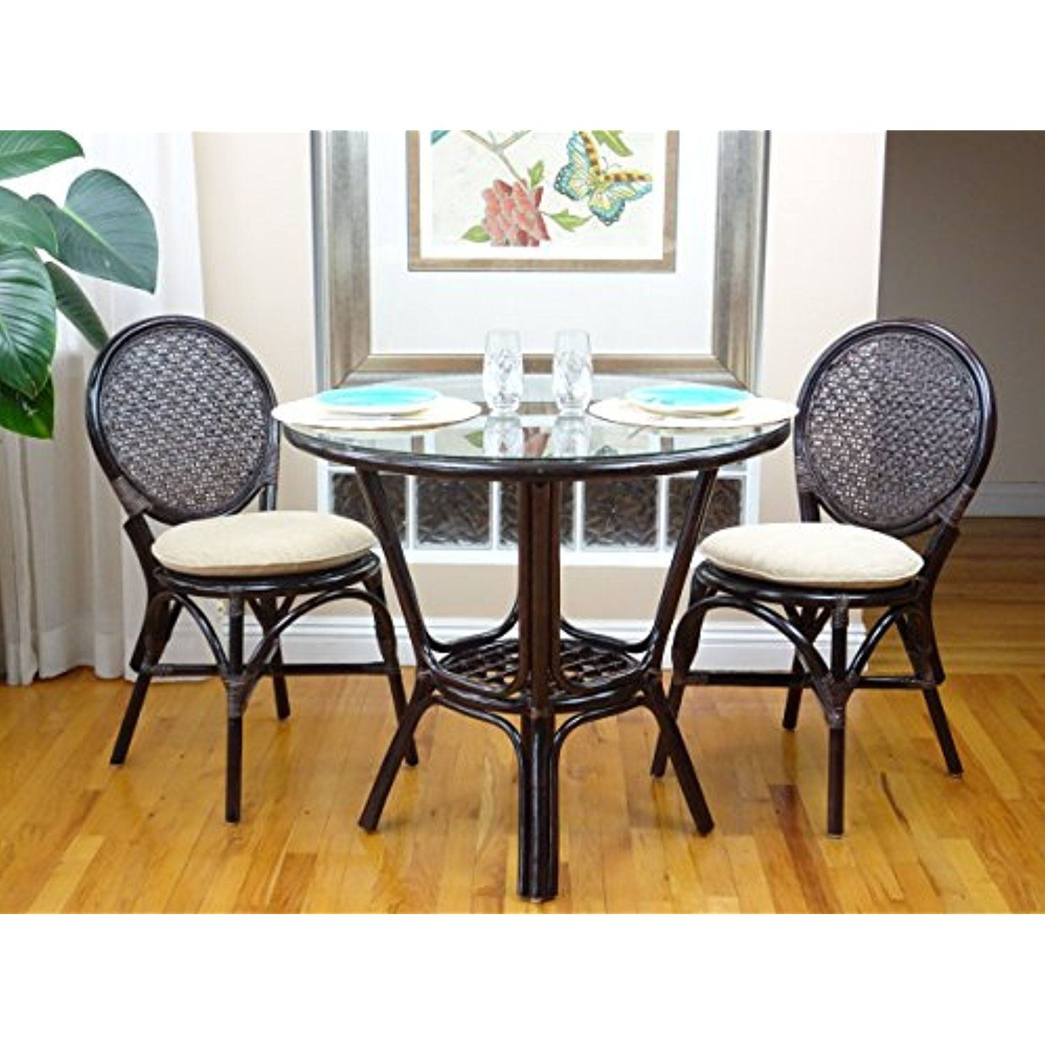 3 Pc Rattan Wicker Dining Set Round Table Glass Top 2 Denver Side