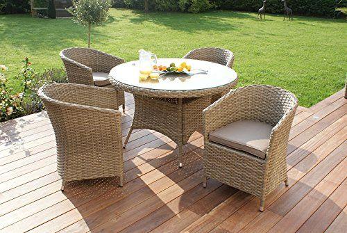 Aston Rattan Garden Furniture 4 Seat Rounded Dining Set Beige