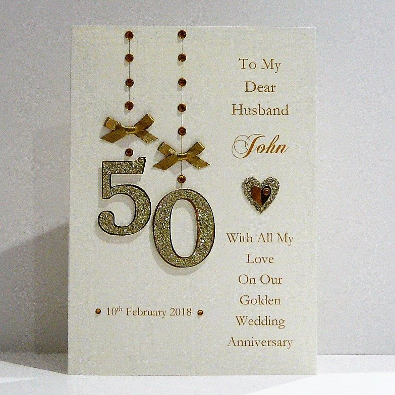 Personalised 50th Golden Wedding Anniversary Card For Wife Husband A5 Size Golden Anniversary Cards Anniversary Cards Handmade Golden Wedding Anniversary Card