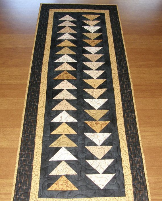 Reserved For Katherine, Quilted Table Runner, Black Gold Table Runner,  Contemporary Table Runner, Patchwork Table Runner, Quiltsy Handmade