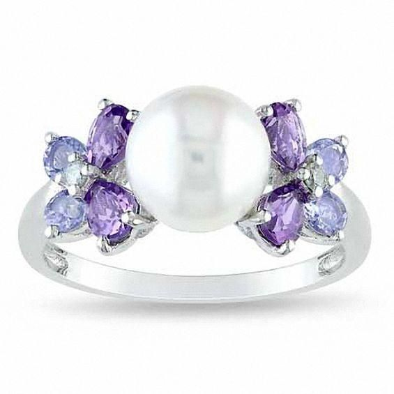Zales Oval Amethyst and Tanzanite Ring in Sterling Silver oGHJxjpGj